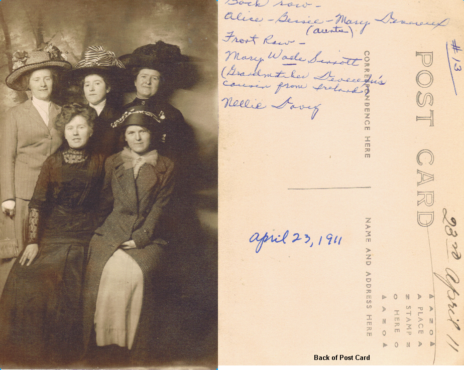 BackRow.Alice.Bessie.Mary.Devereux-Frontrow.Mary-Wade-Sinnot.Nellie.Davey.Group.Photo.23.April.1911